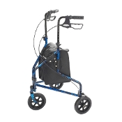 3 Wheel Walker Rollator w/ Basket Tray & Pouch - BLUE