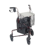 3 Wheel Walker Rollator w/ Basket Tray & Pouch - RED