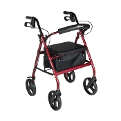 Aluminum Rollator with Removable Wheels - RED