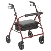 "Bariatric Rollator with 8"" Wheels, 400# Cap - Red"